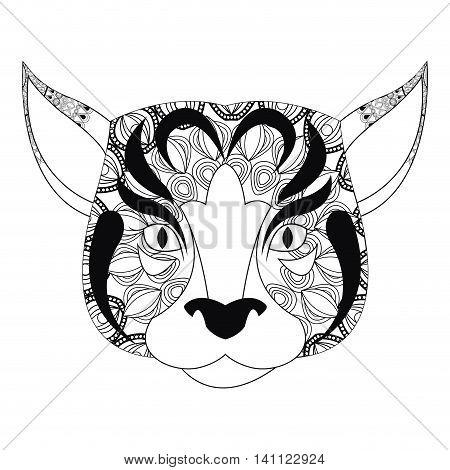 flat design tribal feline icon vector illustration