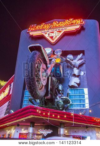 LAS VEGAS - MAY 21 : The Harley Davidson Cafe in Las Vegas strip on May 21 2016. In the facade there is a 7.1:1 scale replica Sportster weighing 1200 lbs and measuring 32 feet.
