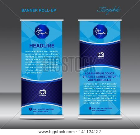 Blue Roll up banner template vector polygon background roll up stand display banner design flyer advertisement