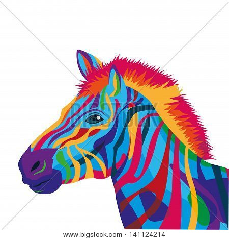 flat design colorful zebra drawing icon vector illustration
