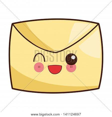 flat design kawaii envelope icon vector illustration