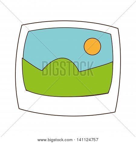 flat design landscape photograph icon vector illustration
