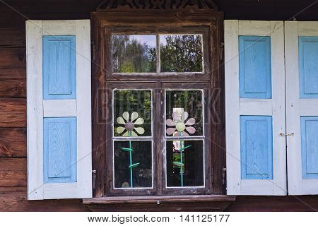 Rural architecture - window. Windows on old wooden house