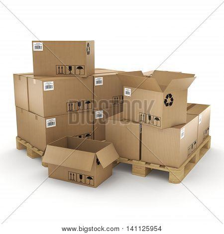 3D Rendering Cardboard Box