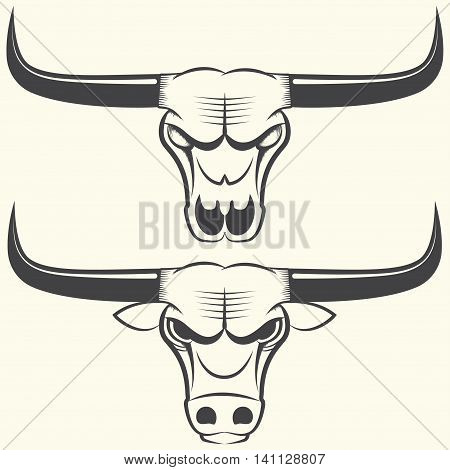 Bull s head and skull, line art sign or emblem, vector