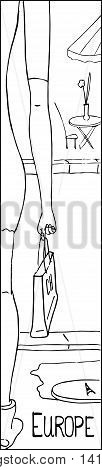 Shopping in Europe outlined vector illustration. Coloring page or bookmark. Narrow vertical hand-drawn monochrome sketch. European girl in mini dress with paper shopping bag. Paris drawing picture