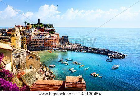 Romantic Seascape in Five lands Vernazza Cinque Terre Liguria Italy Europe.