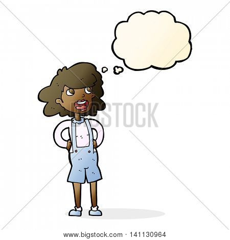 cartoon woman in dungarees with thought bubble
