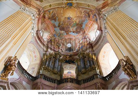 KRTINY CZECH REPUBLIC 26TH APRIL 2014 - interiors of Pilgrimage Church in Krtiny village of the Name of Virgin Mary from famous baroque architect Jan Blazej Santini Aichel - cince 1750 year