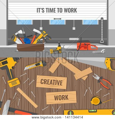Workplaces and tools compositions with office or warehouse space and wooden table for carpenter isolated vector illustration