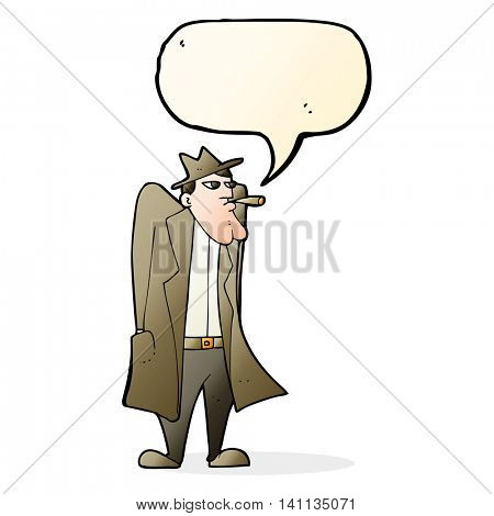 cartoon man in hat and trench coat with speech bubble