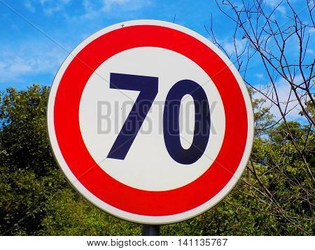 Maximum speed limit roadsign during sunny day
