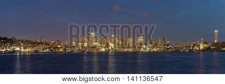Seattle Washington City Skyline by Lake Union during evening panorama