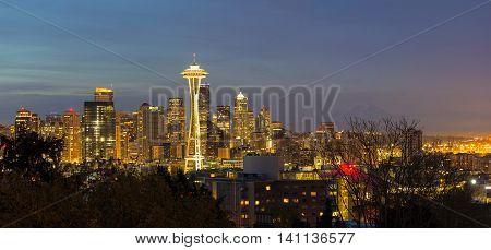 Seattle Washington City Skyline with Mount Rainier during evening panorama