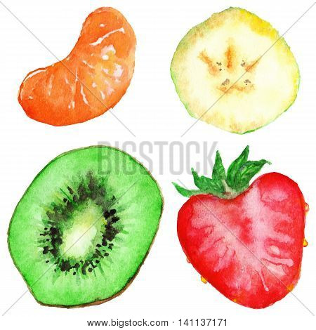 Watercolor banana kiwi strawberry mandarin fruit set isolated vector