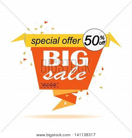 Big sale banner design. Super. Paper banner can use for promotion promotional brochure booklet posters advertising shopping flyers discount banners. Vector illustration