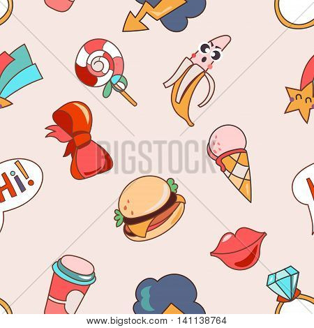 Seamless pattern cartoon patch badges or fashion pin badges. Candy, cloud, cup, ice cream, cloud, ring, lips, ribbon, burger, hi hand drawn vector full color sketch