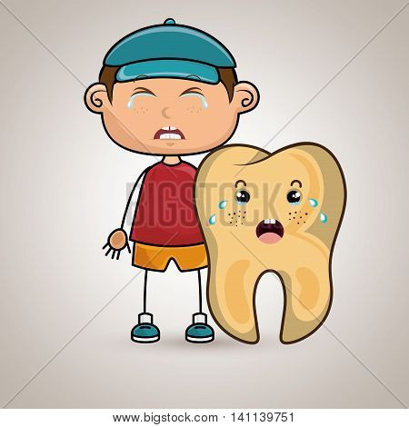 crying cartoon boy wearing colored clothes with a cartoon crying tooth on his side