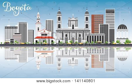 Bogota Skyline with Gray Buildings, Blue Sky and Reflections. Vector Illustration. Business Travel and Tourism Concept with Historic Buildings. Image for Presentation Banner Placard and Web Site.
