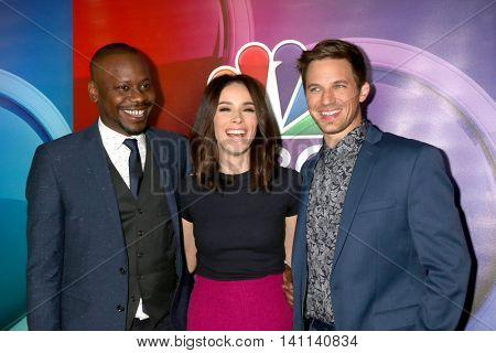 LOS ANGELES - AUG 2:  Malcolm Barrett, Abigail Spencer, Matt Lanter at the NBCUniversal TCA Summer 2016 Press Tour at the Beverly Hilton Hotel on August 2, 2016 in Beverly Hills, CA