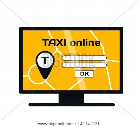 Taxi online website yellow web banner business taxi service. Concept of booking taxi online network vector symbol. Business service technology taxi online website transportation trip application.