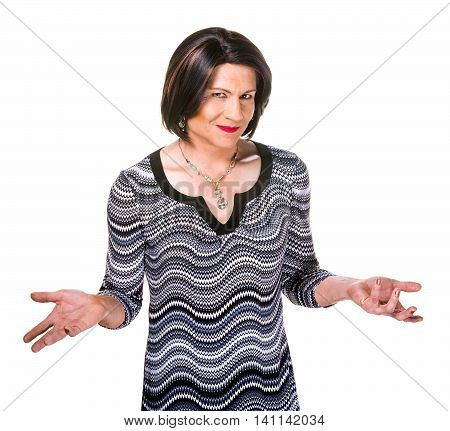 Happy Hispanic Transgender Woman Gesturing