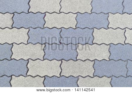 Concrete Floor Serrated Brick Pattern Texture For Background.