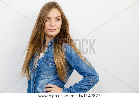 Young Girl With Denim Jacket.