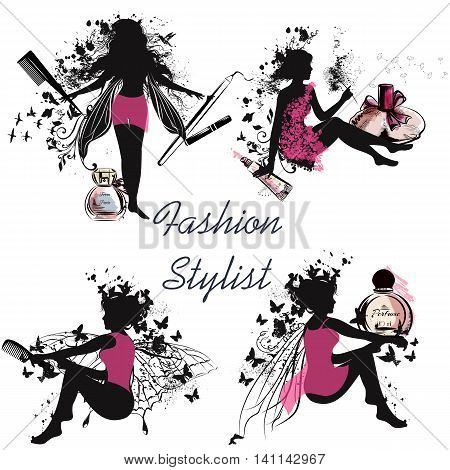 A collection of beautiful vector girl's silhouettes holding hairbrushes perfume lipstick and other. Fashion stylist concept