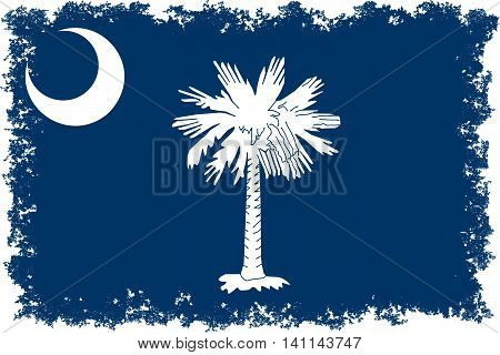 South Carolina State flag with distressed edges