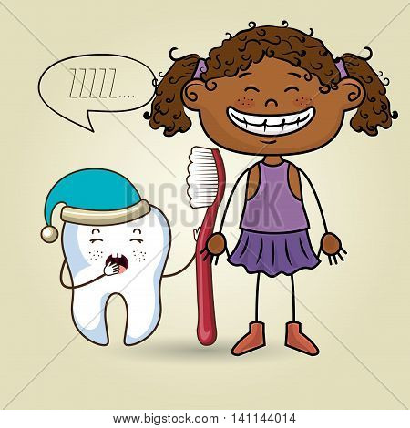 cartoon girl wearing coloured clothes holding a toothbrush and a cartoon sleepy tooth wearing a hat and a text mark above it over a coloured background vector illustration