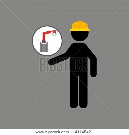 engineering with technolgy machine, industry icon, vector illustration