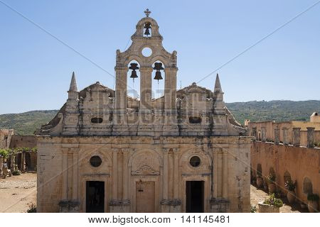 Cathedral in famous Arkadi monastery, Crete island, Greece