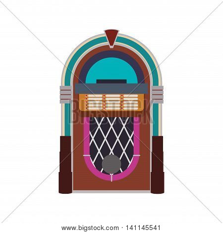 Jukebox machine technology retro vintage icon. Isolated and flat illustration. Vector graphic