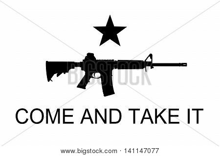 Come and take it flag with black assault riffle