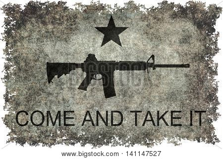 Come and take it flag with black assault style rifle