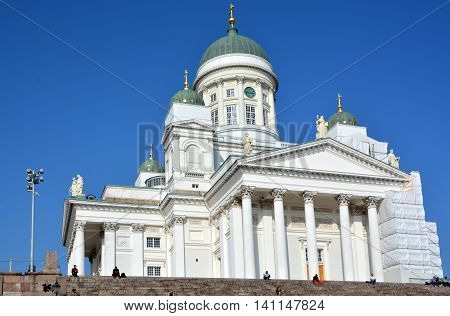 HELSINKI FINLANd 09 25 2015: Helsinki Cathedral is the Finnish Evangelical Lutheran cathedral of the Diocese of Helsinki.distinctive landmark in the Helsinki cityscape, with its tall, green dome