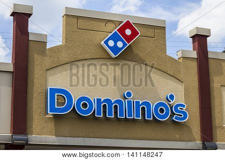 Muncie IN - Circa July 2016: Domino's Pizza Carryout Restaurant. Domino's is 97% franchise-owned with 840 independent franchise owners I