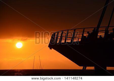 Los Muertos beach against sunset sky. Puerto Vallarta, Mexico