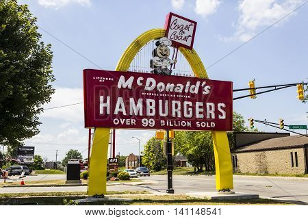 Muncie IN - Circa July 2016: Legacy McDonald's Hamburger Sign with Speedee. This Sign was Installed in 1956 and Restored in 2013 VI