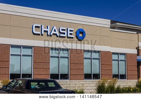 Muncie IN - Circa July 2016: Chase Bank Retail Location. Chase is the U.S. Consumer and Commercial Banking Business of JPMorgan Chase VI