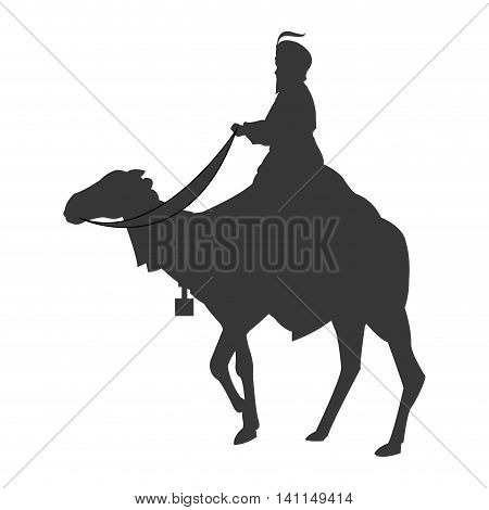 flat design magi with camel silhouette icon vector illustration