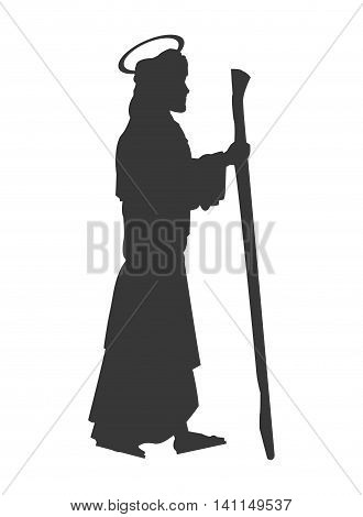 flat design saint joseph silhouette icon vector illustration