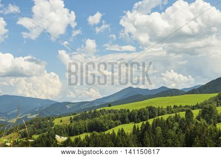 View on the beautiful pure nature scenery. Meadows and mountains in the national park Mala Fatra, Slovakia.