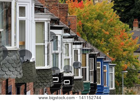 Line of terraced Houses in County Durham, UK
