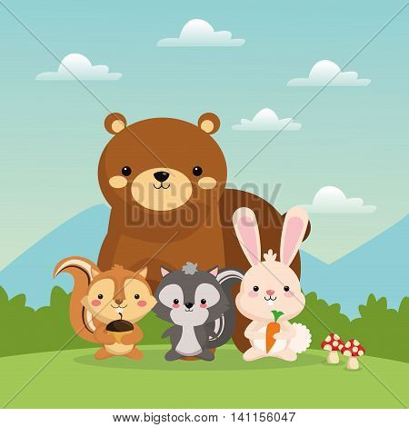 Woodland animal concept represented by cute bear squirrel rabbit and skunk cartoon icon over landscape. Colorfull and flat illustration. poster
