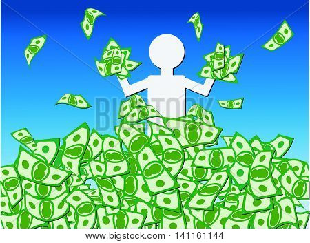 Cash Windfall - Jubilant person waist deep in a mound or pile of money celebrating the windfall