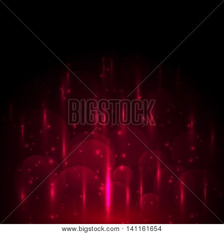 Abstract red light and bokeh glowing background, stock vector