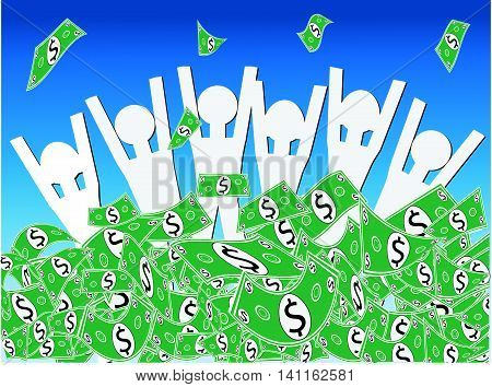Dollar Cash Windfall - Group of happy people waist deep in pile of money celebrating the wndfall