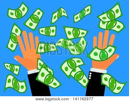Catching Falling Money - Two hands catching falling money or cash from the sky or Hands pitching money up in the air